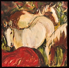 Horses, Red Cream and Rust by Shannon Bueker (Acrylic Painting)