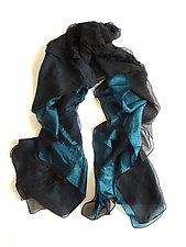 Black and Sapphire Silk Chiffon Truffle Scarf by Yuh Okano  (Silk Scarf)