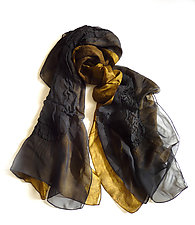 Black and Gold Silk Chiffon Truffle Scarf by Yuh  Okano (Silk Scarf)