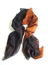 Black and Rust Silk Chiffon Truffle Scarf by Yuh  Okano (Silk Scarf)