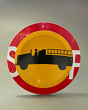 Fire Truck D.P.W. Platter by Boris Bally (Metal Wall Sculpture)