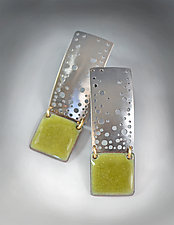 Olive Green Starry Night Earrings by Reiko Miyagi (Silver & Enamel Earrings)
