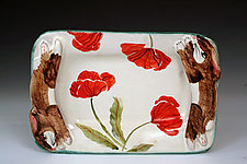 Rabbit/Poppies Butter Tray by Peggy Crago (Ceramic Tray)