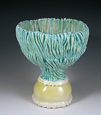Carved Porcelain Compote by Carol Barclay (Ceramic Bowl)