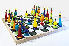 Giant Chess Set by Michael Trimpol and Monique LaJeunesse (Art Glass Sculpture)