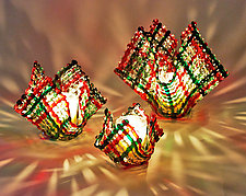 Christmas Confetti Glass Candleholder by Ed Edwards (Art Glass Candleholder)