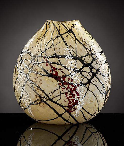 Cherry Blossom Flat Vase By Bryce Dimitruk Art Glass Vase Artful