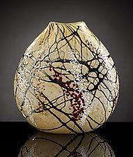 Cherry Blossom Flat Vase by Bryce Dimitruk (Art Glass Vase)