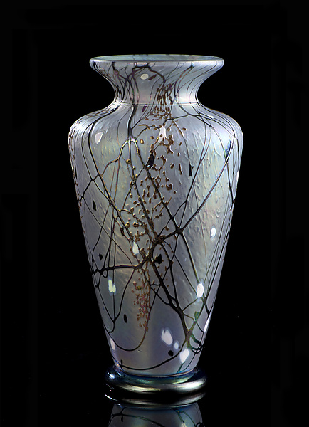 Silver Lavender Traditional Vase By Bryce Dimitruk Art Glass Vase