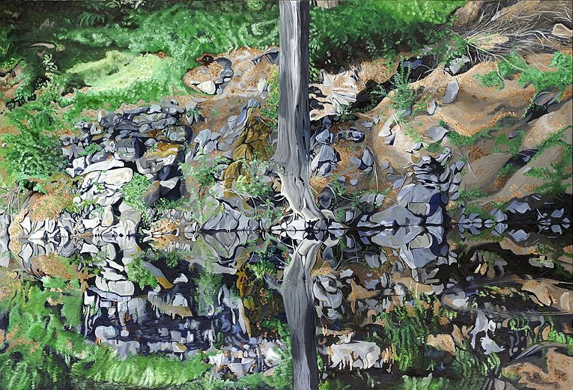 Sticks and stones by robert steinem oil painting for Will oil paint stick to glass