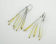 Fan Twig Earrings with Gold by Gillian Batcher (Gold & Silver Earrings)