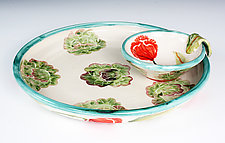 Small Chip & Dip, Red Poppy & Lettuce by Peggy Crago (Ceramic Plate)