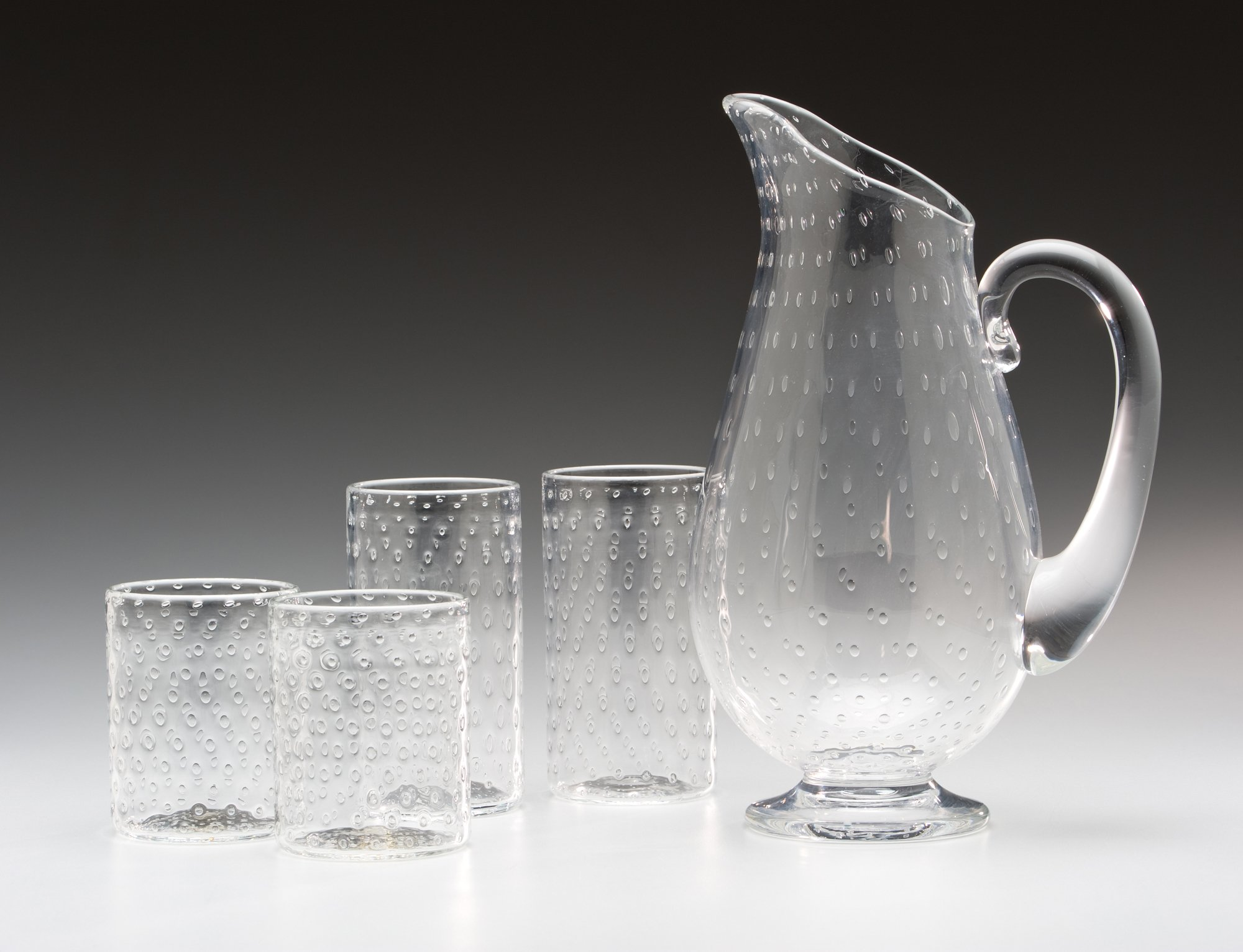 Bubble Pitcher And Glasses By Kenny Pieper Art Glassware