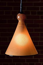 Gold Reticello Cone by Kenny Pieper (Art Glass Pendant Lamp)