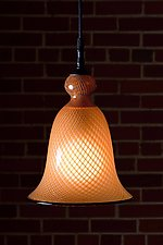Gold Reticello Bell by Kenny Pieper (Art Glass Pendant Lamp)