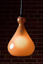 Gold Reticello Bulb by Kenny Pieper (Art Glass Pendant Lamp)