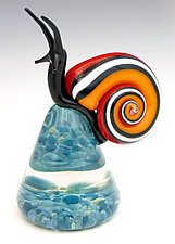 Red and Orange Racer Stripe Snail by Eric Bailey (Art Glass Paperweight)