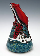 Red Racer Stripe Frog by Eric Bailey (Art Glass Paperweight)