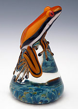 Mango Racer Frog by Eric Bailey (Art Glass Paperweight)