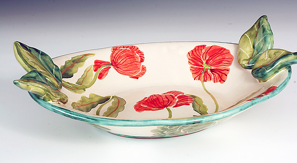 Oval Serving Bowl, Red Poppy