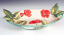 Oval Serving Bowl, Red Poppy by Peggy Crago (Ceramic Bowl)