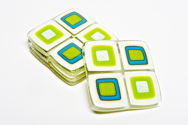 Vanilla and Turquoise Retro Coasters