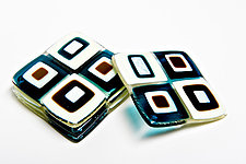 Aqua Retro Coasters by Helen Rudy (Art Glass Coasters)