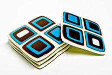 Turquoise and Brown Retro Coasters by Helen Rudy  (Art Glass Coasters)