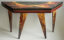 Eclipse Trapezoid Console by Ingela Noren and Daniel  Grant (Painted Wood Console Table)