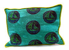 Sailing on Turquoise by Laura Goldstein (Silk Pillow)