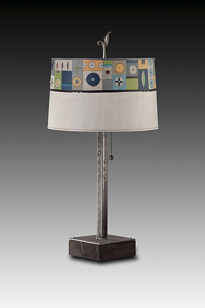 Steel Table Lamp on Wood with Large Drum Shade in Lucky Mosaic Oyster
