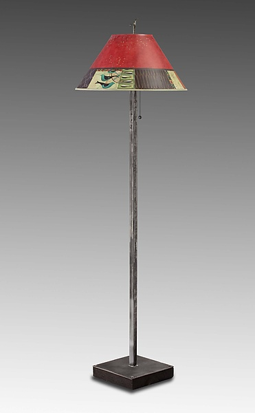 Steel Floor Lamp on Reclaimed Wood with Large Drum Shade in Red Match