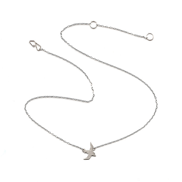 Tiny Flying Bird Necklace, Single Bird
