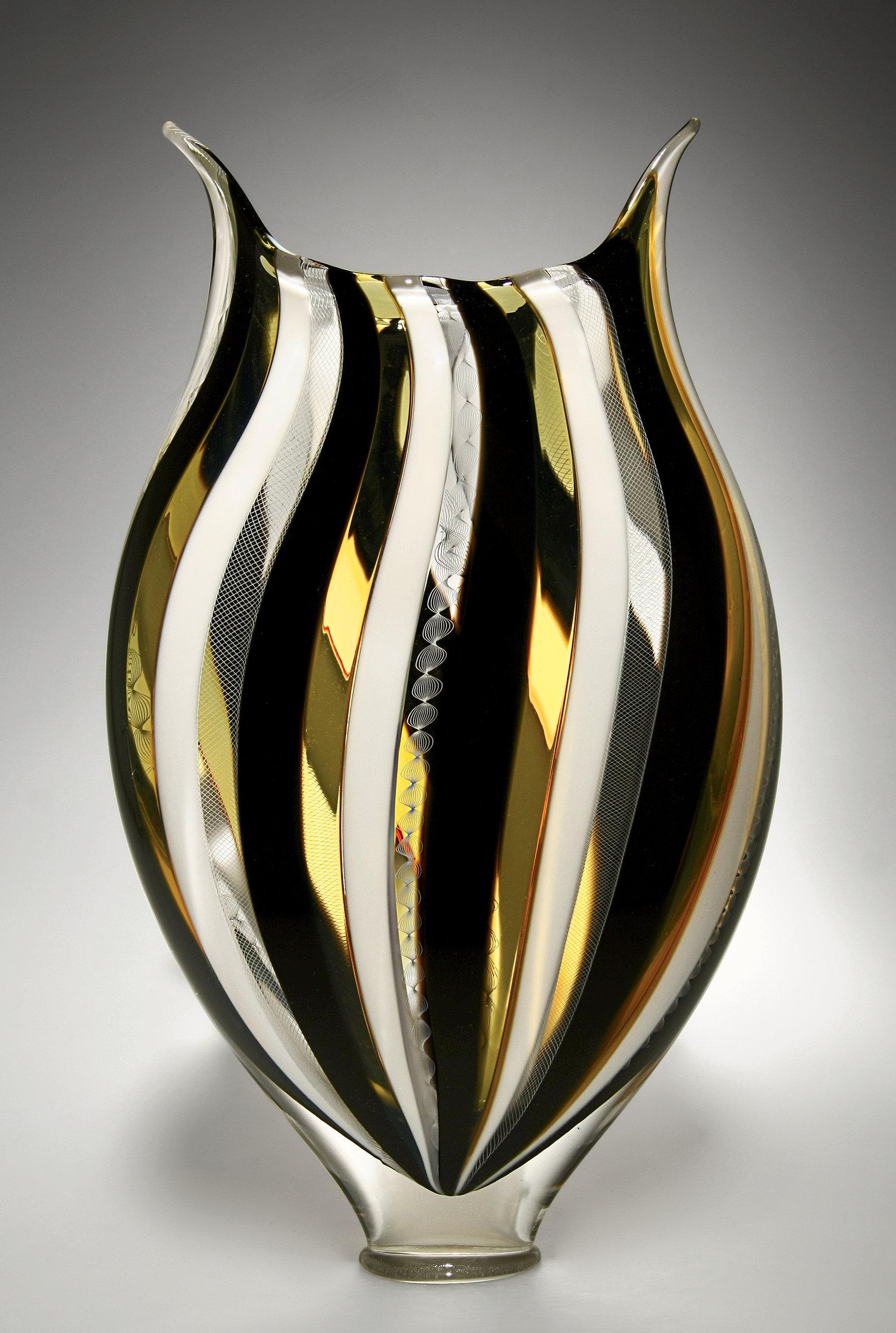 Large Glass Vessel : ... and White Foglio by David Patchen (Art Glass Vessel) Artful Home