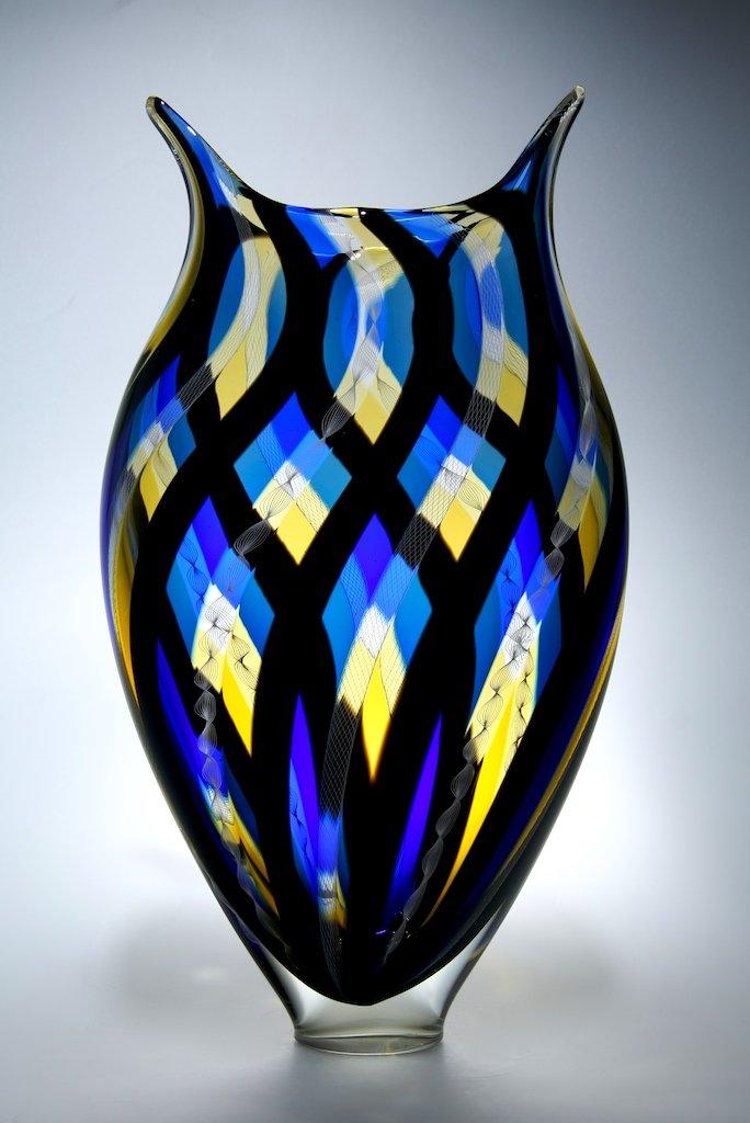 Large Glass Vessel : Woven Foglio by David Patchen (Art Glass Vessel) Artful Home