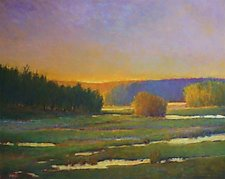 Marsh in Greens and Golds by Ken Elliott (Giclee Print)