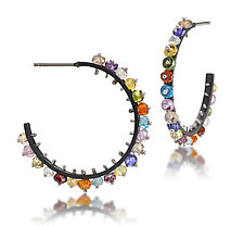 Small Multi-Color Hoops by Giselle Kolb (Silver & Stone Earrings)