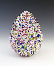 Spring Flower Egg by Paul Lockwood (Art Glass Sculpture)