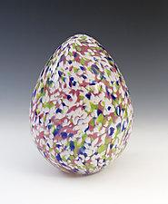 Spring Flower Egg by Paul Lockwood (Art Glass Sculpture)