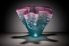 Pink and Teal Fluted Bowl by Curt Brock (Art Glass Bowl)
