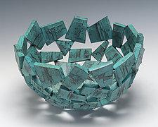 Turquoise Wabi Sabi Vessel by Susan Madacsi (Metal Bowl)