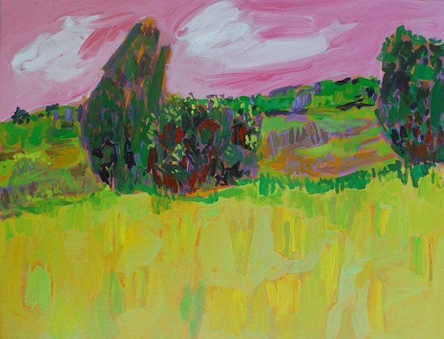 Green Field By Leonard Moskowitz Acrylic Painting