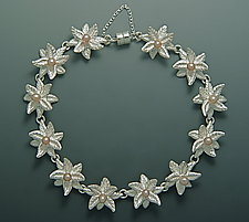 Double Pointed Bloom with Pearls Bracelet by Ellen Vontillius (Silver & Pearl Bracelet)