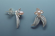 Two Leaf with Bloom Earrings by Ellen Vontillius (Silver & Pearl Earrings)