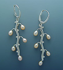 Hanging Branch with Pearls Earrings by Ellen Vontillius (Silver & Pearl Earrings)