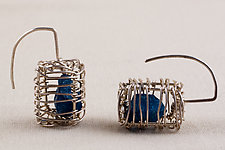 Caged Apatite Cube Sculpture Hooks by Kathy Frey (Silver & Stone Earrings)