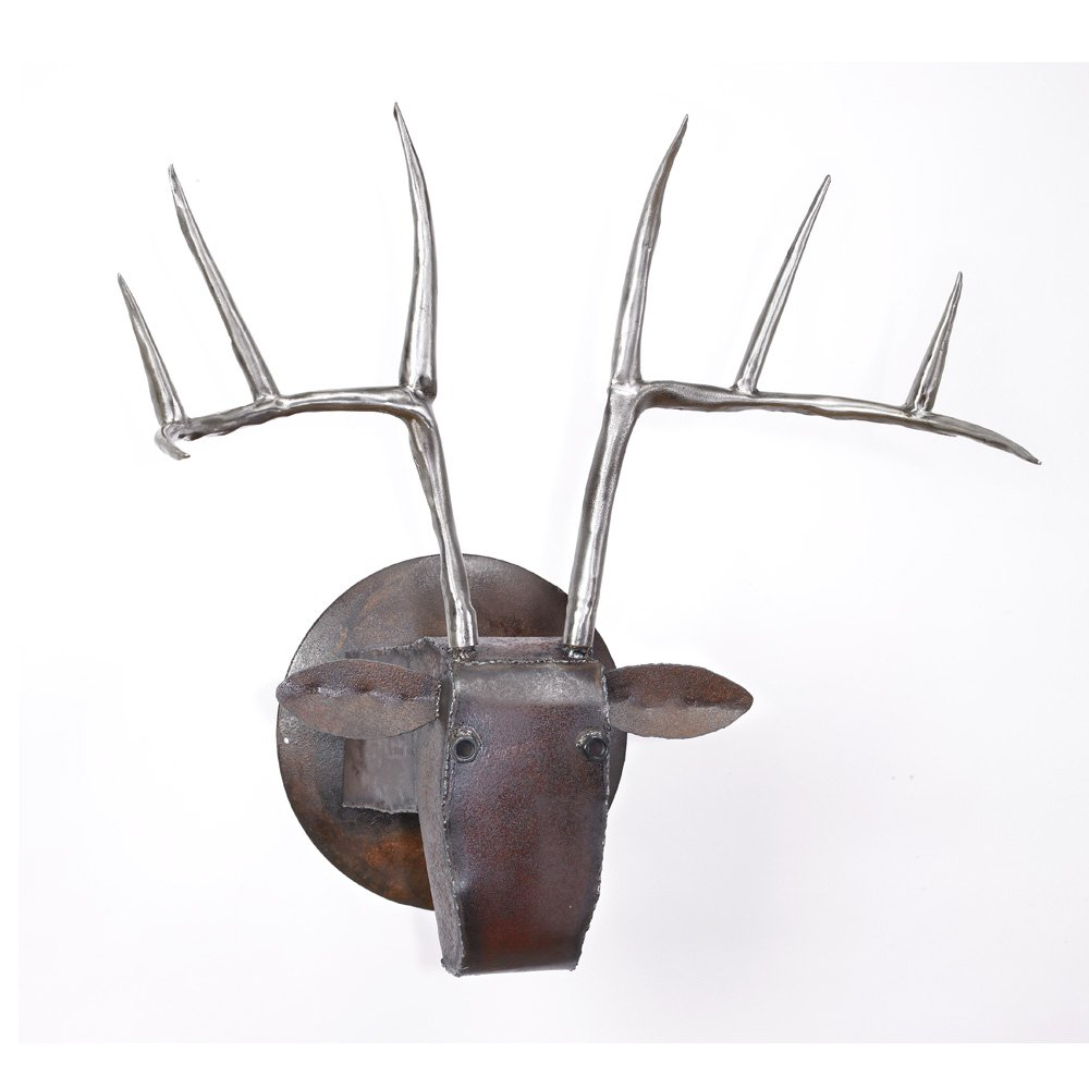 Large deer head by ben gatski and kate gatski metal wall sculpture artful home - Sculpture wall decor ...