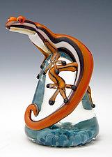 Mango Racer Stripe Lizard Paperweight by Eric Bailey (Art Glass Paperweight)