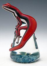 Red  Racer Stripe Lizard Paperweight by Eric Bailey (Art Glass Paperweight)