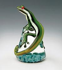 Green  Racer Stripe Lizard Paperweight by Eric Bailey (Art Glass Paperweight)